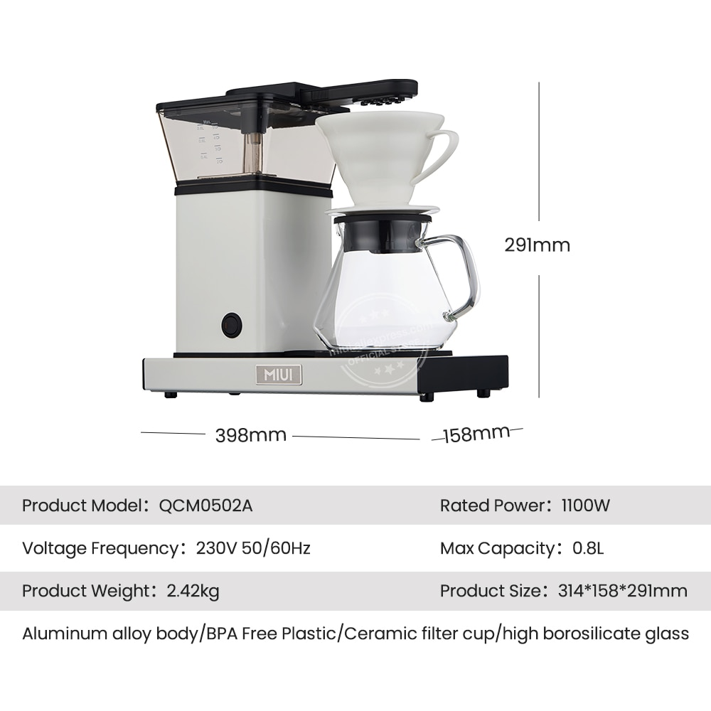MIUI Coffee Machine,2-5 Cup / 27oz Coffee Brewer,One Touch Drip Coffee Maker with Glass Carafe,BPA-free,2021 New Ceramic White